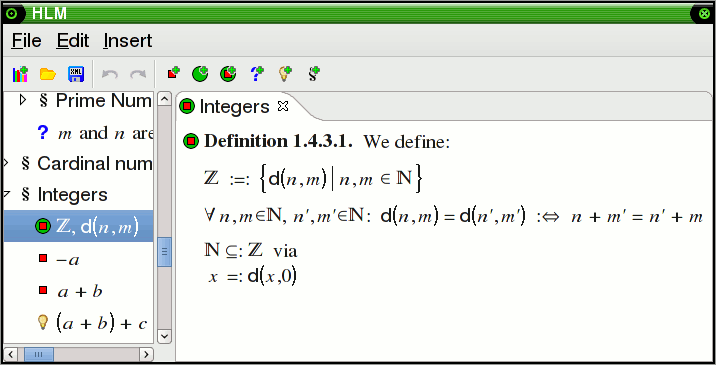 Embedding of natural numbers into integers