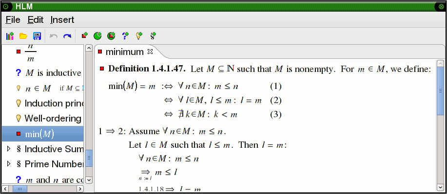 Implicit definition of the minimum of a set of natural numbers